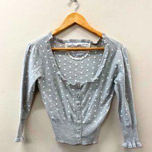GUESS Grey Polka Dot Embroidered Frill Cardigan